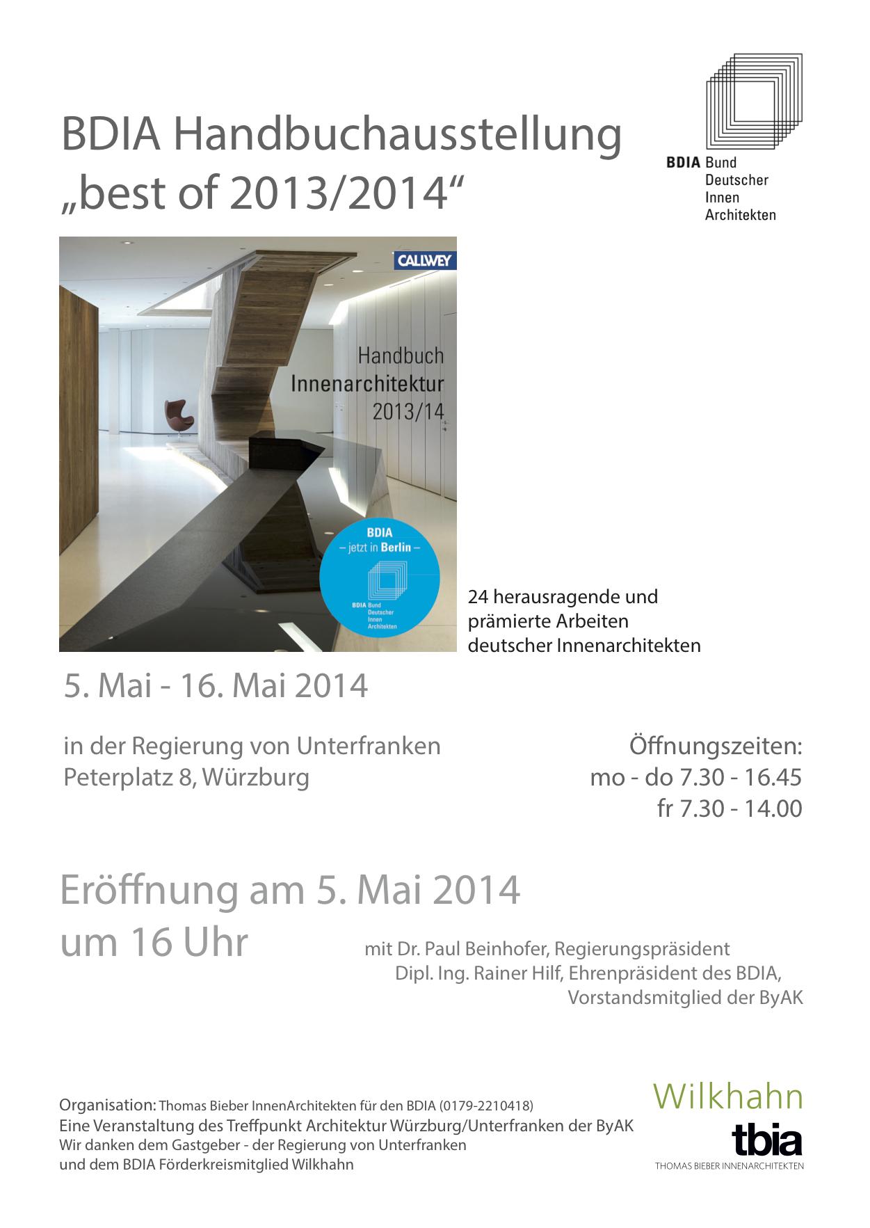 Bund Deutscher Innenarchitekten handbuchausstellung einladung 2014 05 05 bund deutscher