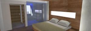 Kühler Beton und warmes Holz prägen die Hotelzimmer