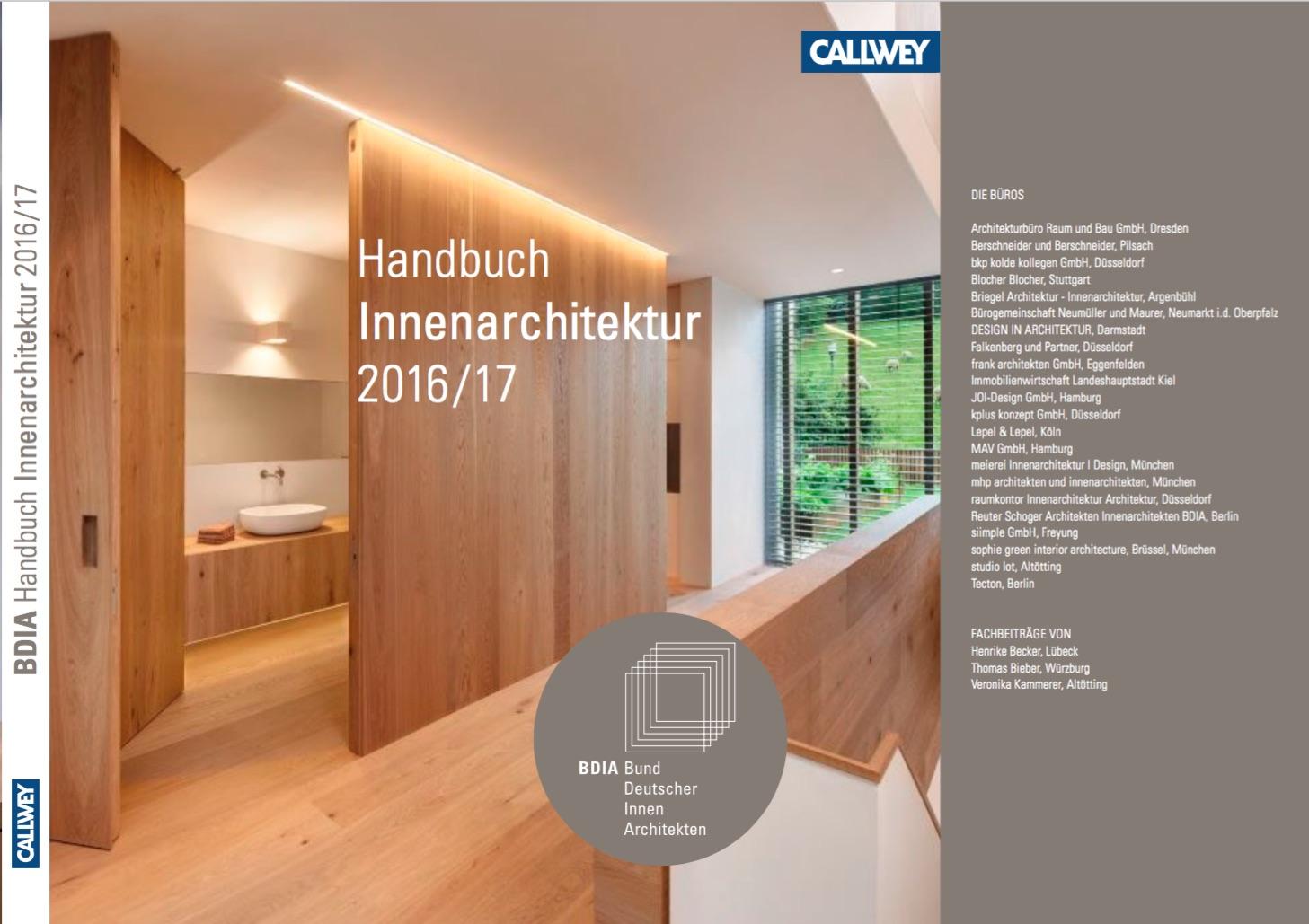 Nur noch wenige tage projekteinreichung zum neuen bdia handbuch innenarchitektur 2017 18 bund - Innenarchitektur rosenheim ...